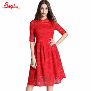 Sale Vestido New 2016 Summer Fashion Sexy Hollow Elegant Lace Party Dress High Quality Plus Size Women Clothing Casual Dresses