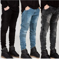 Mens Skinny jeans men 2016 Runway Distressed elastic  jeans denim Washed black blue jeans hip hop pants men Biker jeans