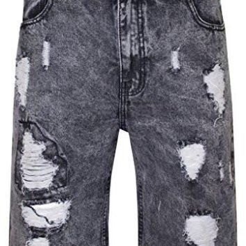 Men's Denim Shorts SletyBiker Addiction Hip Hop Urban Acid Washed Distressed Biker Shorts