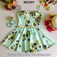 Floral Multi Color Bustier Dress with Adjustable Straps Size S/M - BD2207 - Smoky Mountain Boutique