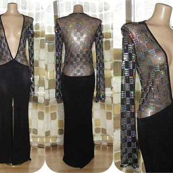 Vintage 90s Dress | 1990s Formal Gown | Deep V Naval Plunge | Sheer Mesh Bodice | Holographic Sequins | Fishtail Sweep & Slit | Size Large