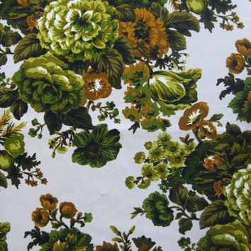 Vintage 1980s Cotton Fabric Green Floral Cream Screen Print Roses Home Décor Material