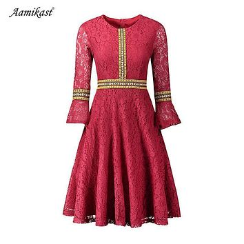 Lace 3/4 Lantern Sleeves Scoop Knee-length Dress