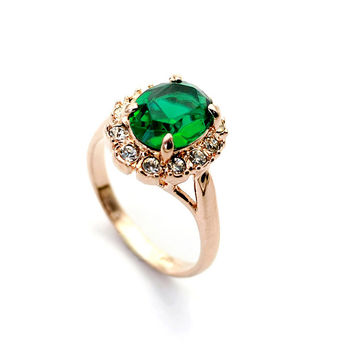 Emerald Gold Plated Crystal Ring