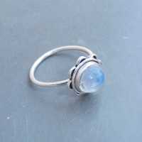 Beautiful Rainbow Moonstone Ring Sterling Silver Rainbow Ring, moon stone Ring Silver Ring, Blue Fire Moonstone Ring Size 7 8 Gift Rings