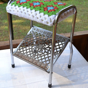 Industrial Metal Stool Crochet Granny Square Cover Cottage Chic Shabby Vintage Decor Littlestsister