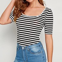 Black and White Striped Print Square Neck Slim Fitted Tee Basics T Shirt Women Short Sleeve Casual Tshirt Tops