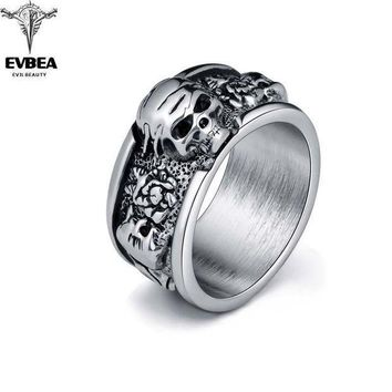 ac PEAPO2Q Rock Roll kpop Silver Gothic Punk Old Wrinkle Skull Big  Rotating Bikers Bible Rings Men's & Boys' Jewelry