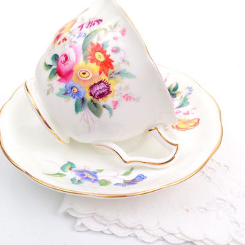 English Bone China Coalport June Time Pattern Tea Cup and Saucer Tea Party Garden Decor