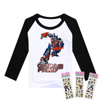 2016 movie TV children clothes Transformation boys clothing Optimus Prime t shirts Bumblebee pattern Sleeve cotton kids T-shirt