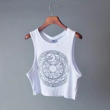 Astro Moon Sun Cropped Muscle Top