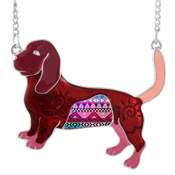 New Fashion Jewelry for Women Enamel Dog Statement Animal Cute Pendant Necklace with Long Chain