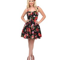 Black Floral Stretch Fit N Flare Short Dress - New Arrivals! | Unique Vintage