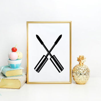 MASCARA PRINT But first mascara mascara print bathroom print mascara makeup print makeup wall art make up printable quote Chanel art print