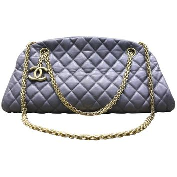 Chanel Grey Quilted Lambskin Leather Bowling Bag