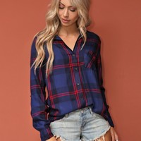 West Coast Wardrobe  Carter Button Up Shirt in Navy Plaid