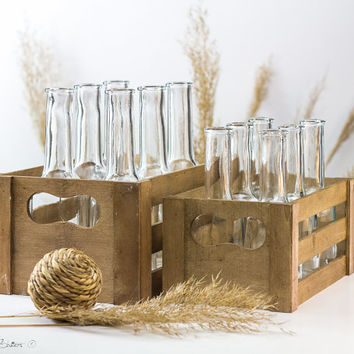 Vintage Wood Drinking Set Rustic Crate with Bottles or Glasses Barn Wedding Shower Party Decor Centerpiece