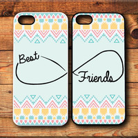 2 iPhone 5/5S, iPhone 5c, iPhone 4 4s, Samsung Galaxy S3 S4 case Aztec Pattern Best friends Forever BFF Infinity Protective Case