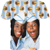 Good Burger All-Over Print Sublimated Sky Blue & White T-Shirt