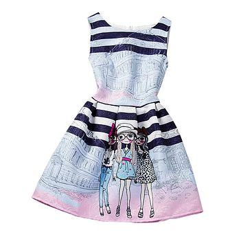 Fashion Girl Summer Dress For 12 Years Children Princess Graffiti Dress Girl Kids Clothes Teen Girl Birthday Party School Dress