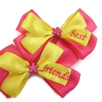 Best Friends Hair Bows Pink and Yellow