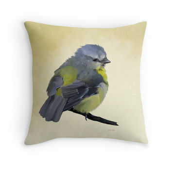 'Young Bluetit' Throw Pillow by Bamalam Art and Photography
