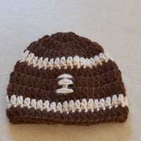 Crocheted Baby Football Beanie for 6 12 mo by LesPetitsPompons