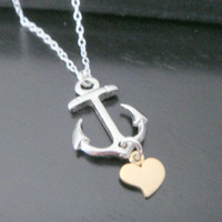 Sterling Silver Simple Heart and Anchor Necklace Bridal Jewelry Bridesmaids Gift Birthday Christmas Celebrity Inspired Jewelry