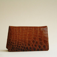 Vintage Hand Made Leather Clutch Crocodile Skin
