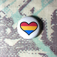 Pansexual Flag Heart Pinback Button or Magnet