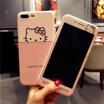 Pink case For iPhone 8 plus 7 /7Plus hello kitty cases Tempered Glass for iPhone 6 6sPlus soft cover cartoon sakura girl Screen