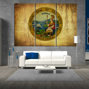 California seal flag The Golden State wall art Canvas Print, California seal flag  wall art, California seal flag canvas wall art print t315
