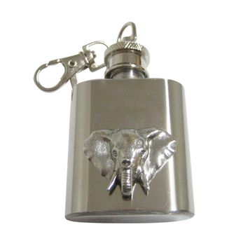 Silver Toned Textured Elephant Head 1 Oz. Stainless Steel Key Chain Flask
