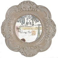 Home Accents Distressed Romantic Vintage Round Picture Frame / Photo Frame 4 x 4 (Tan)