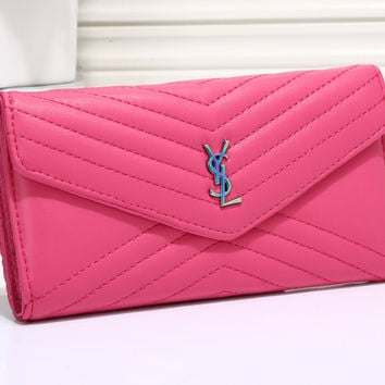 YSL Women Leather Buckle Wallet Purse