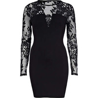 Black lace insert plunge bodycon dress