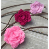 Pink Felt Flower Headband, Baby Headband Set, Pink Flower Headband, Felt Flowers, Flower Headband