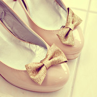 gold sparkle glitter bow shoes clips. anthropologie.