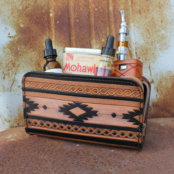 Indian Tribal Blanket Pattern Leather Bag Custom Vaping Gear Bag, Carrying Case, Zipper Pouch, Dopp Kit with Anchor Zipper