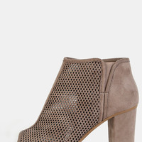 Chunky Heel Perforated Booties TAUPE | MakeMeChic.COM