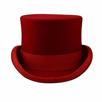 Premium Wool Victorian Steampunk Mad Hatter Top Hat for Costumes Red