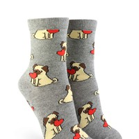 Heart Pug Graphic Crew Socks