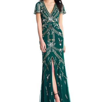 Aidan Mattox V Neck Beaded Gown | Dillards