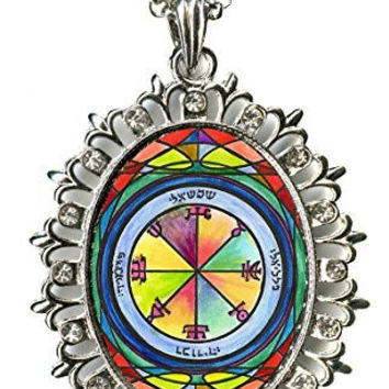 Solomons 2nd Sun Represses Those Who Oppose You Huge Silver Medallion Rhinestone Pendant