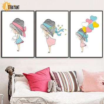Girl Heart Balloon Wall Art Canvas Painting Nordic Posters And Prints Cartoon Wall Pictures kids Bedroom Baby Girl Room Decor