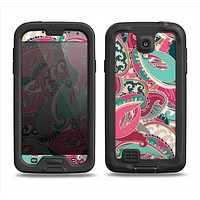 The Colorful Pink & Teal Seamless Paisley Samsung Galaxy S4 LifeProof Fre Case Skin Set