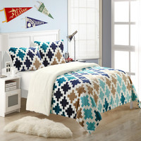 Mia Plush Microsuede Printed Sherpa Lined Blue 3 Piece Embroidery Blanket & Shams Set