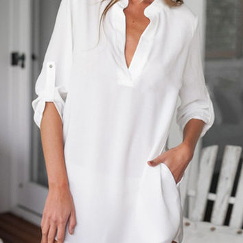 White V-neck Half Sleeve Long Blouse