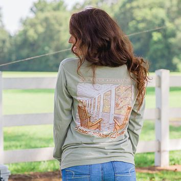 Old South Front Porch Livin Comfort Colors Long Sleeve T-Shirt