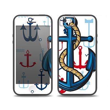 The Dark Blue Anchor with Rope Skin Set for the iPhone 5-5s Skech Glow Case